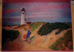 Lighthouse & Wild Roses